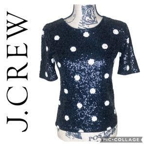 J. Crew Black Polka Dot Sequin Top Size XS